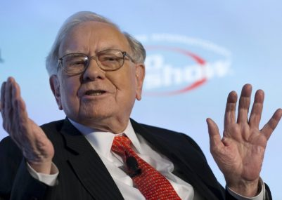 Warren Buffett, chief executive officer and chairman of Berkshire Hathaway Inc, speaks at a National Auto Dealers Association event in New York